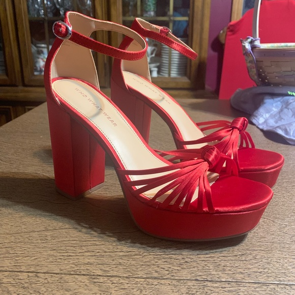 9847a4fcd4164 Who What Wear Shoes | Ella Red Satin Knot Platform 75 | Poshmark